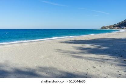 View on Mediterranean Sea with sunny sand beach. Chorefto village, Pelion, Greece.