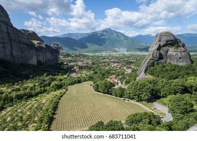 View on Meteora village, Greece
