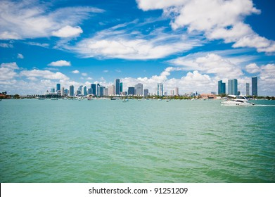 View on Miami under blue sky with clouds