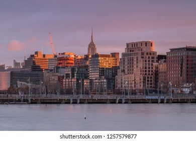 View on Midtown Manhattan from Hudson river at sunrise