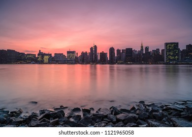 View on midtown manhattan from the rocks during sunset