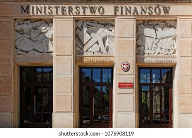 View on the Ministry of Finance of Poland building facade