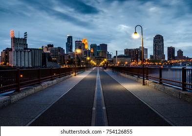 View on Minneapolis from Stone Arch Bridge