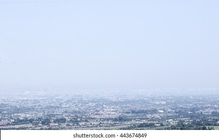 View on misty Dublin from the hills in Tallaght