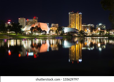 View on modern city at night (Adelaide, South Australia, Australia)
