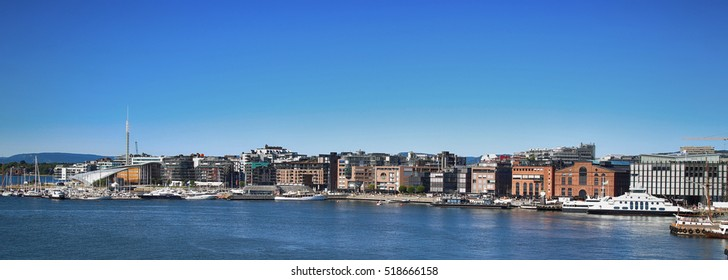 View on modern district Stranden, Aker Brygge district with lux apartments  and restaurants in Oslo, Norway