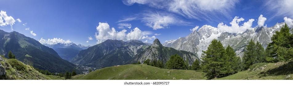 View on Mont Blanc from Rifugio Giorgio Bertone panorama.