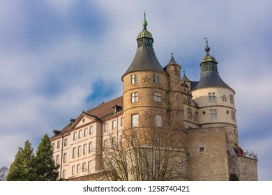 View on Montbeliard castle on sunny day in Doubs department, France