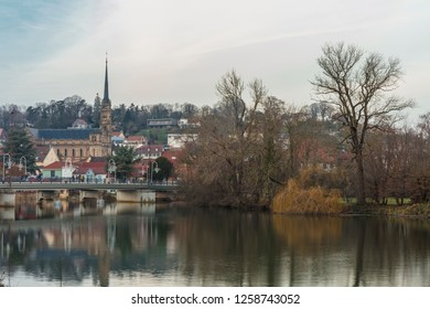 View on Montbeliard town in autumn in Doubs department, France
