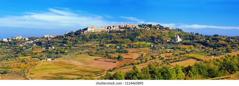 View on Montepulciano city in hart of Tuscany region, Italy