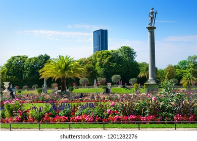 View on Montparnasse tower from Luxembourg garden in Paris, France