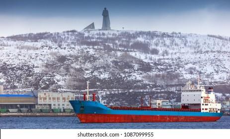 view on monument soldier Alyosha, Murmansk, Russia