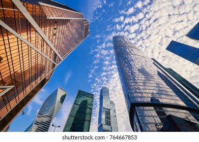 View on Moscow biggest business center Moscow City skyscrapers towers. Skyscrapers office buildings, luxury apartments. Moscow city buildings wide angle panorama. Modern european russian architecture