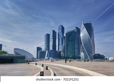 View on Moscow City business center skyscrapers office buildings, luxury apartments. Sightseeing viewing point MIBC. Moscow city skyscrapers panorama. Modern european russian architecture. Business