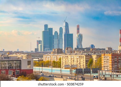 View on the Moscow-City and the third transport ring in autumn, urban Moscow landscape