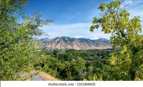 View on Mount Logan, from Logan city center, Utah, United States