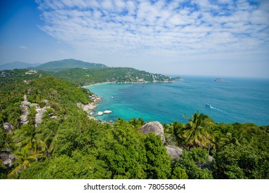 View on the mountain in koh tao , blue, green, mountain, sky, cloud, view,sea,landscape,koh tao ,background,boat