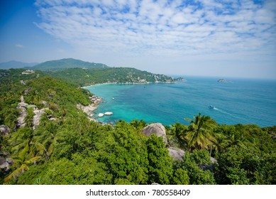 View on the mountain in koh tao , blue, green, mountain, sky, cloud, view,sea,landscape,koh tao ,background,travel,nature