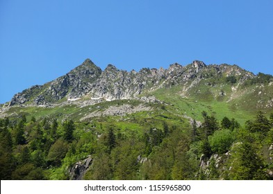 View on the mountain peaks from the GR10 trail in the Pyrenees, France
