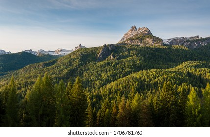 View on mountains behind forest in Dolomite's from Cortina d'Ampezzo