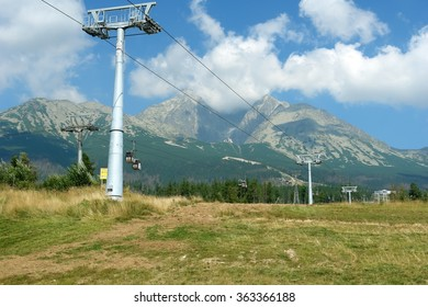 View on the mountains and ski-lift in Tatranska Lomnica, High Tatras, Slovakia.