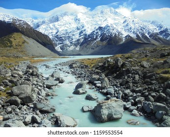 view on Mueller Lake in Hooker Valley track, famous hiking trail in Mount Cook region, South Island of New Zealand