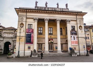 View on the municipal theater in Belluno. 3 January 2019 Belluno, Veneto - Italy
