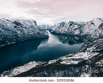 A view on the Naeroyfjord in Western Fjords of Norway