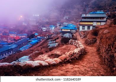 View on Namche Bazar during evening, Khumbu district, Himalayas, Nepal