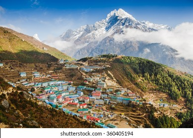 View on Namche Bazar, Khumbu district, Himalayas, Nepal