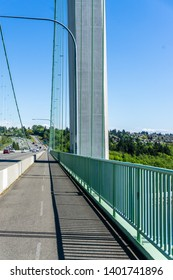 A view from on the Narrows Bridge in Tacoma, Washington.