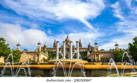 View on the National Palace in Barcelona, Spain.