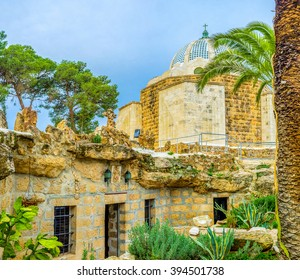 The view on the the Natural Cave Church and the Shepherds Field Chapel, the holiest places of the Shepherd's Field, Bethlehem, Palestine, Israel.