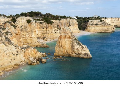 View on Navy Beach (Praia da Marinha) is one of the most famous beaches of Portugal, located on the Atlantic coast in Caramujeira, Lagoa Municipality, Algarve.