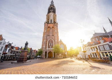 View on the New church on the central square during the sunny morning in Delft city, Netherland