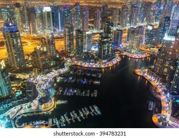 View on night highlighted luxury Dubai Marina,Dubai,United Arab Emirates