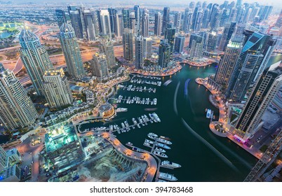 View on night highlighted luxury Dubai Marina,Dubai,United Arab Emirates