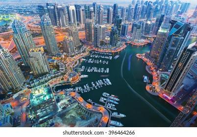 View on night highlighted luxury Dubai Marina from the 52nd floor,Dubai,United Arab Emirates