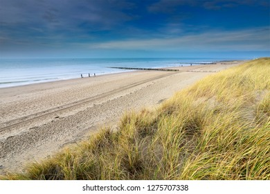 view on North sea sand beach from dune, Vlissingen, Netherlands