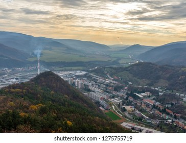 View on Nova Bana town and Mochovce from the viewpoint Cervena skala in Slovakia