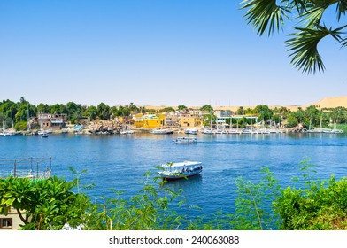 The view on the Nubian village, located on the Kitchener's island from the Kornish al Nile, Aswan, Egypt.