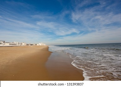 View on Ocean City Maryland beach after Winter Nor'easter storm Saturn.