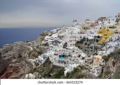 View on Oia on the island of Santorini, Greece