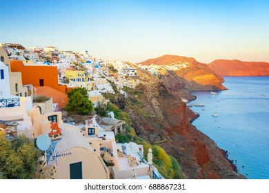 view on Oia town in Santorini island during sunset, Cyclades, Greece