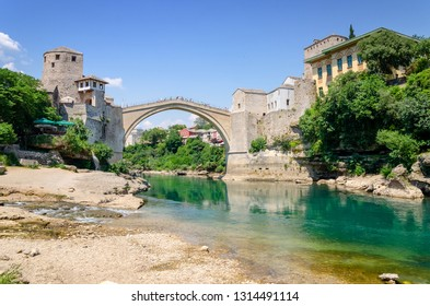 view on old bridge and emerald river Neretva in Mostar in Bosnia and Herzegovina