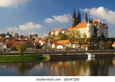 view on old city and castle of Meissen on Elbe, Germany