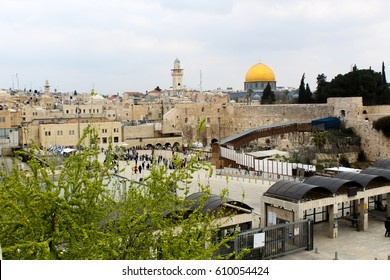 View on Old City, Jerusalem, Israel (Western Wall, Dome of the Rock, Tower of David)