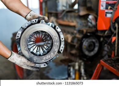 View on old clean car truck clutch component part detail. Car clutch disc disk parts details components for maintenance repair Car clutch disc spare parts. Truck clutch disc Car parts component detail