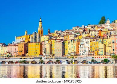 View on old part of Menton, Provence-Alpes-Cote d'Azur, France