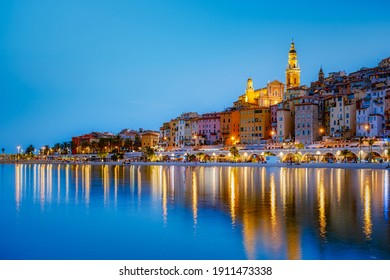 View on old part of Menton, Provence-Alpes-Cote d'Azur, France Europe during summer
